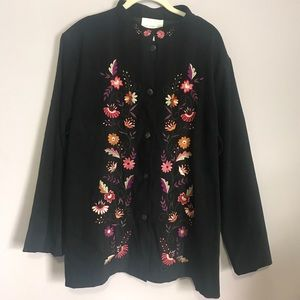 Susan Graver Black Embroidered Button Down Shirt